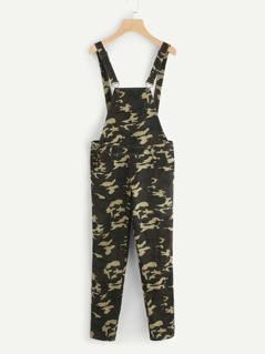 Rolled Up Hem Camo Overalls