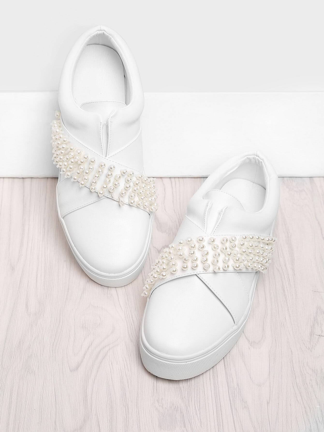 Faux Pearl Slip On Sneakers