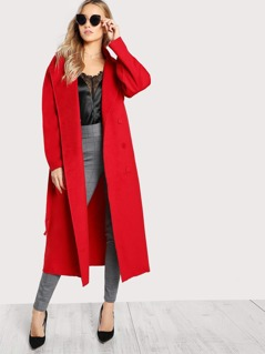 Collared Soft Knit Longline Trench Coat RED