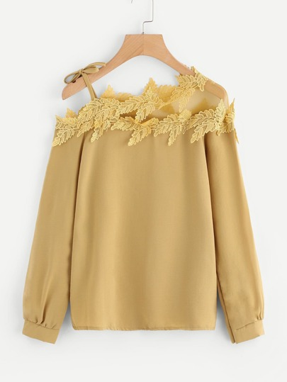 Mesh Panel Crochet Appliques Asymmetric Cold Shoulder Blouse