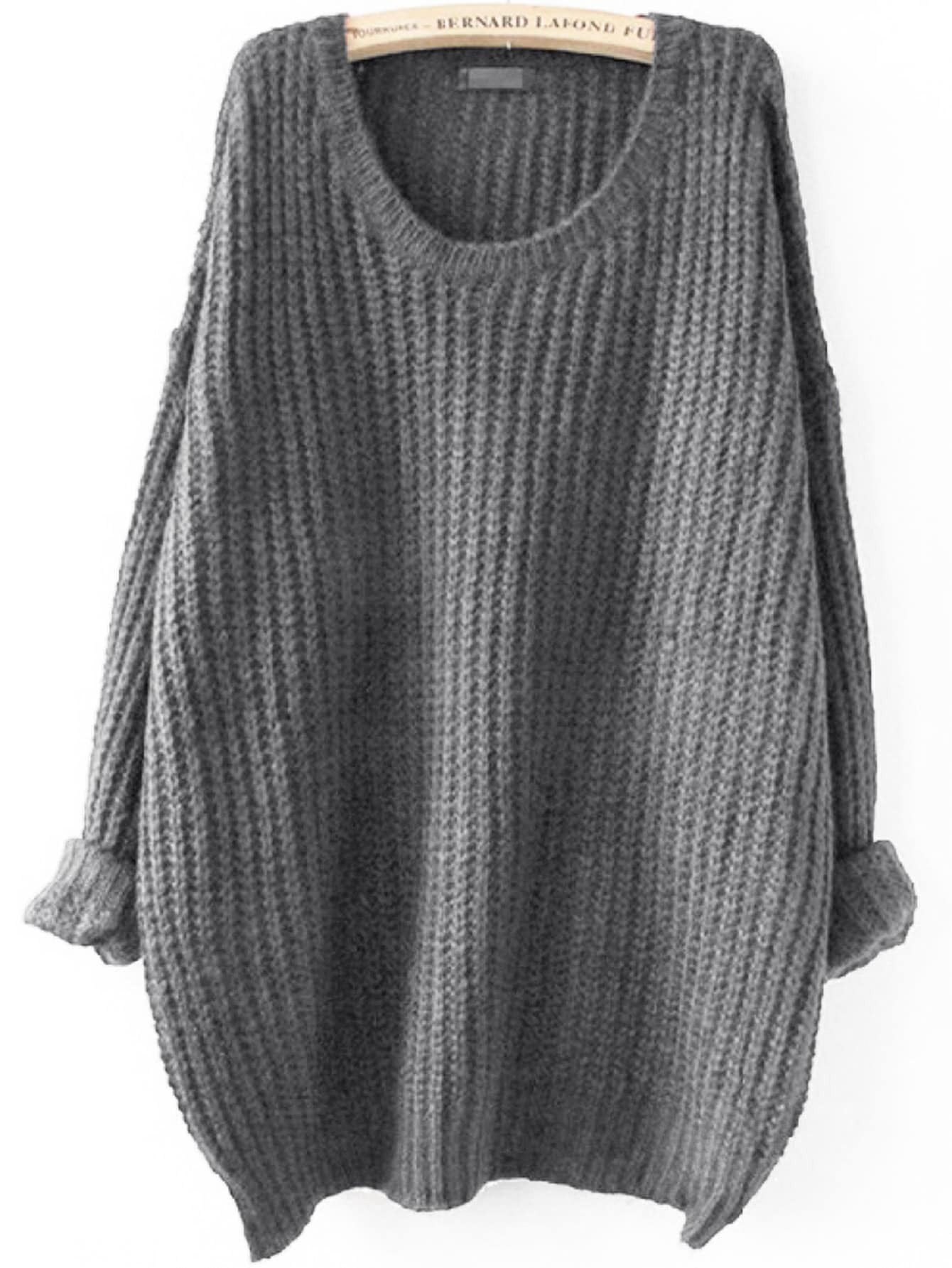 Drop Shoulder Ribbed Knit Jumper dark grey ribbed trim drop shoulder lace up sweatshirt