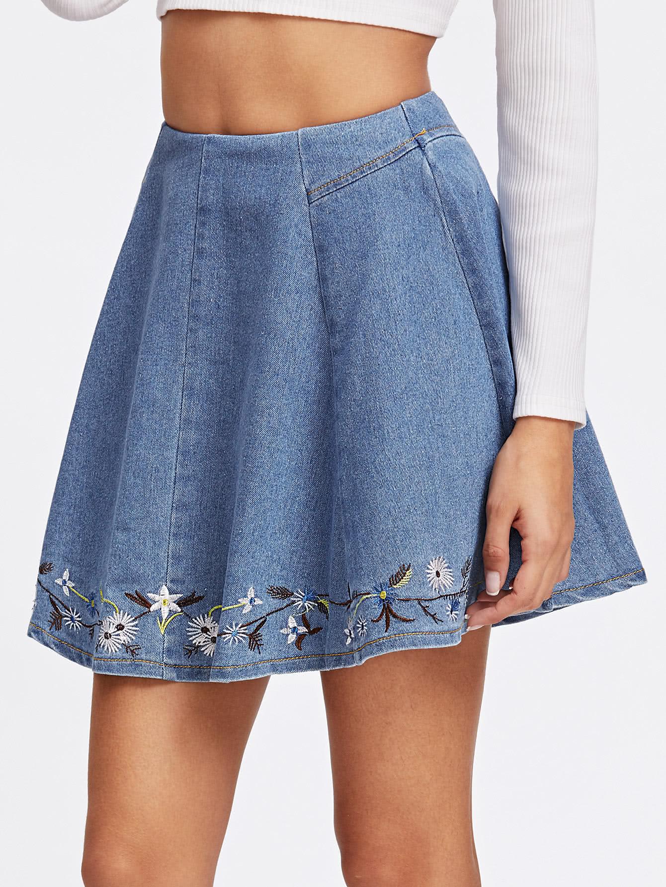 Botanical Embroidered Denim Box Pleated Skirt
