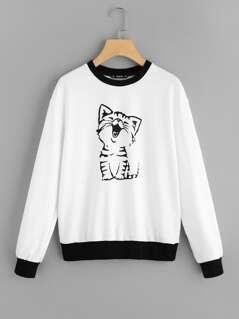 Contrast Trim Cat Print Pullover
