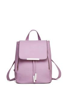 Double Zipper Flap PU Backpack