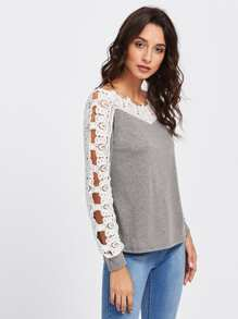 Hollow Out Lace Panel Tee