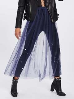 Pearl Beaded Sheer Mesh Skirt