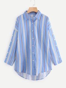 Drop Shoulder Buttoned Sleeve Dolphin Hem Shirt