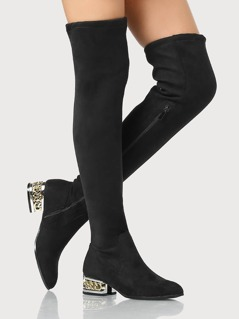 Metal Chain Faux Suede Boots BLACK