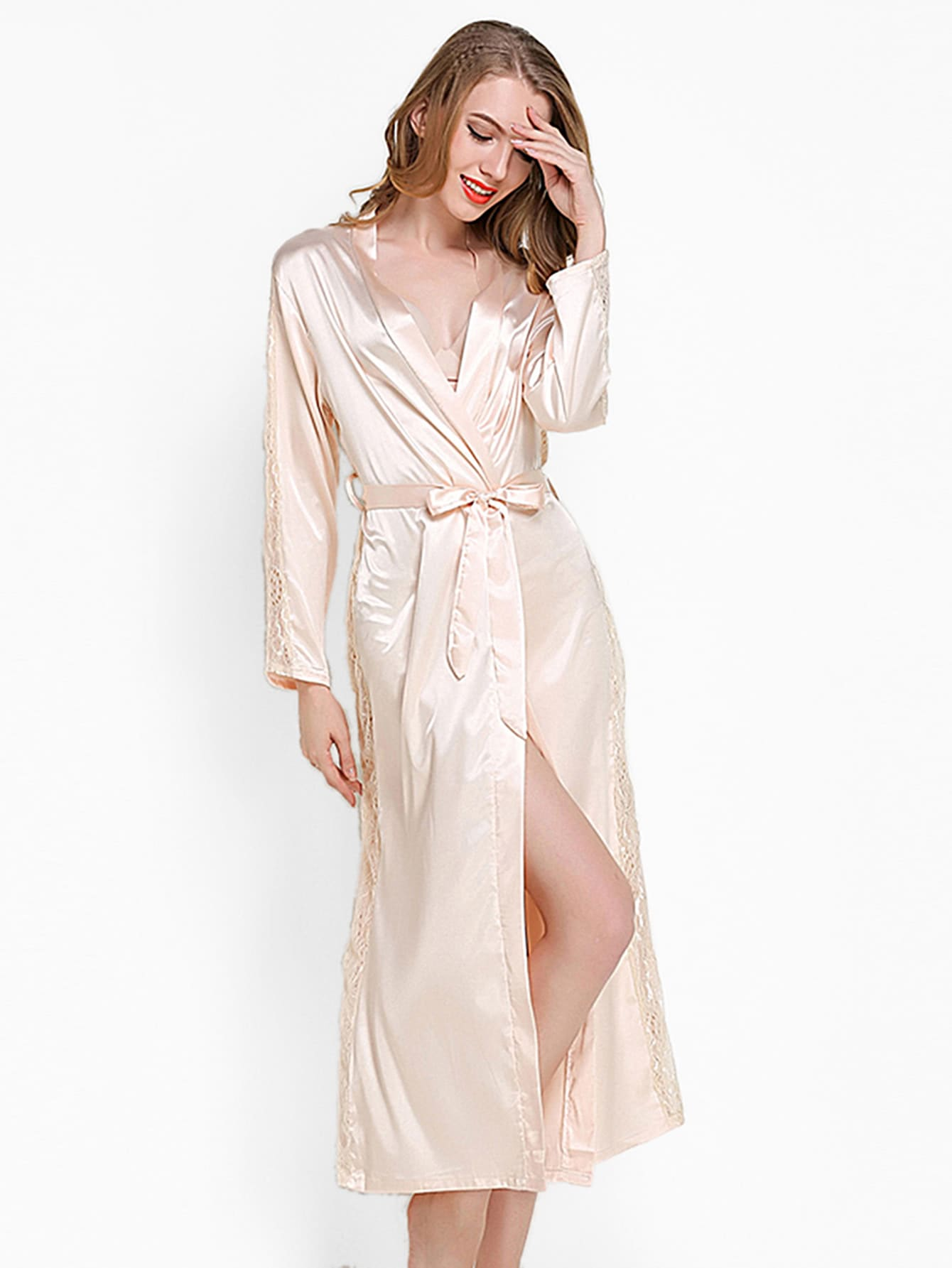 Lace Panel Self Tie Satin Longline Robe self tie satin robe with panty