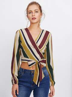 Wrap And Bow Tie Detail Striped Top