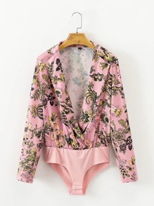 Surplice Floral Satin Blouse Bodysuit