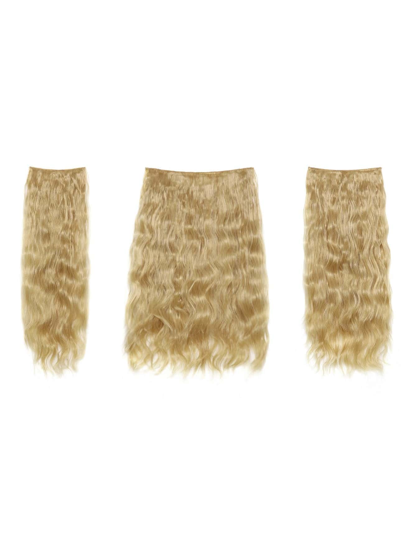 цена на Light Golden Blonde Clip In Curly Hair Extension 3pcs