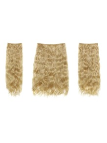Light Golden Blonde Clip In Curly Hair Extension 3pcs