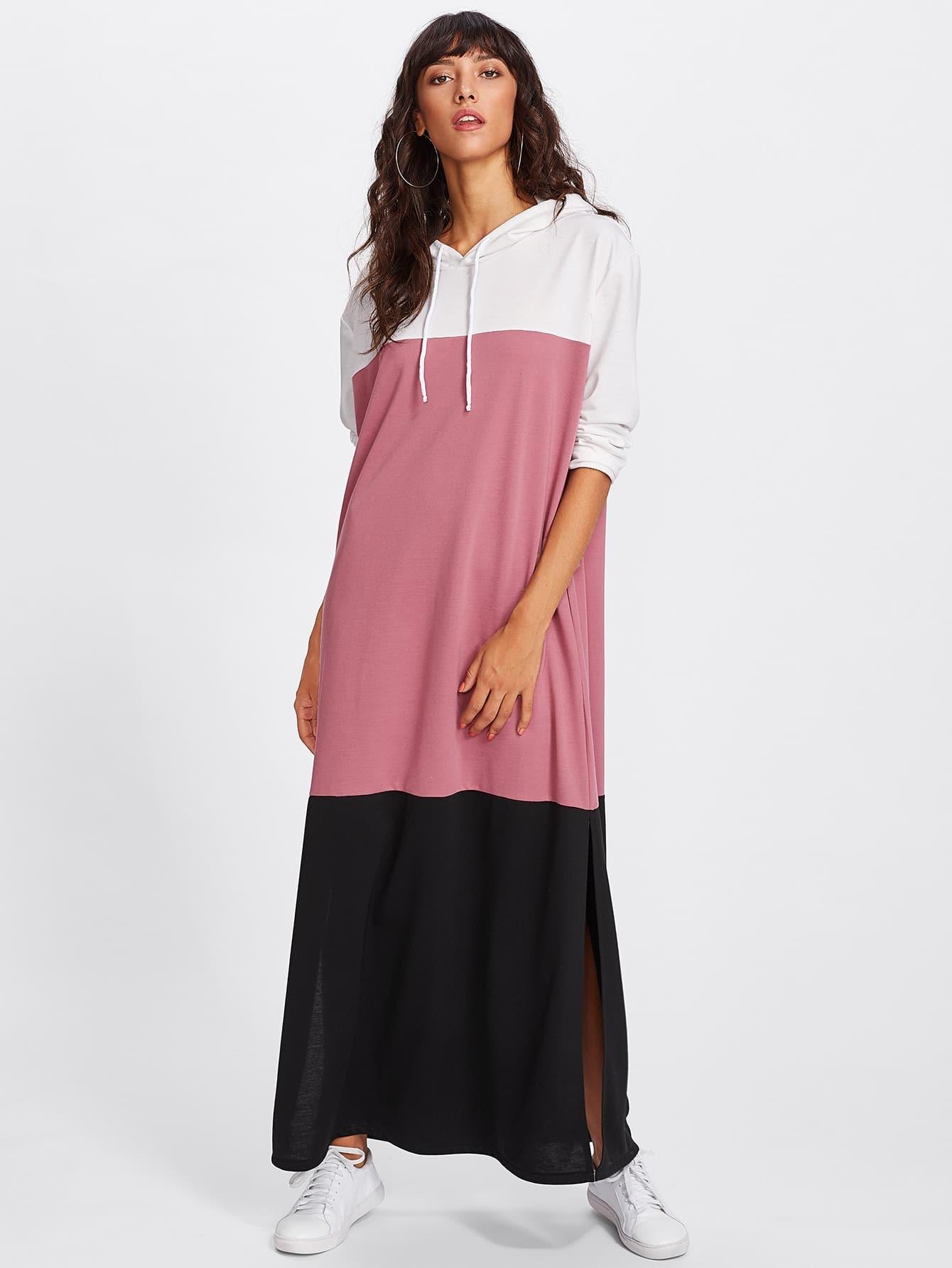 все цены на Color Block Side Split Maxi Sweatshirt Dress