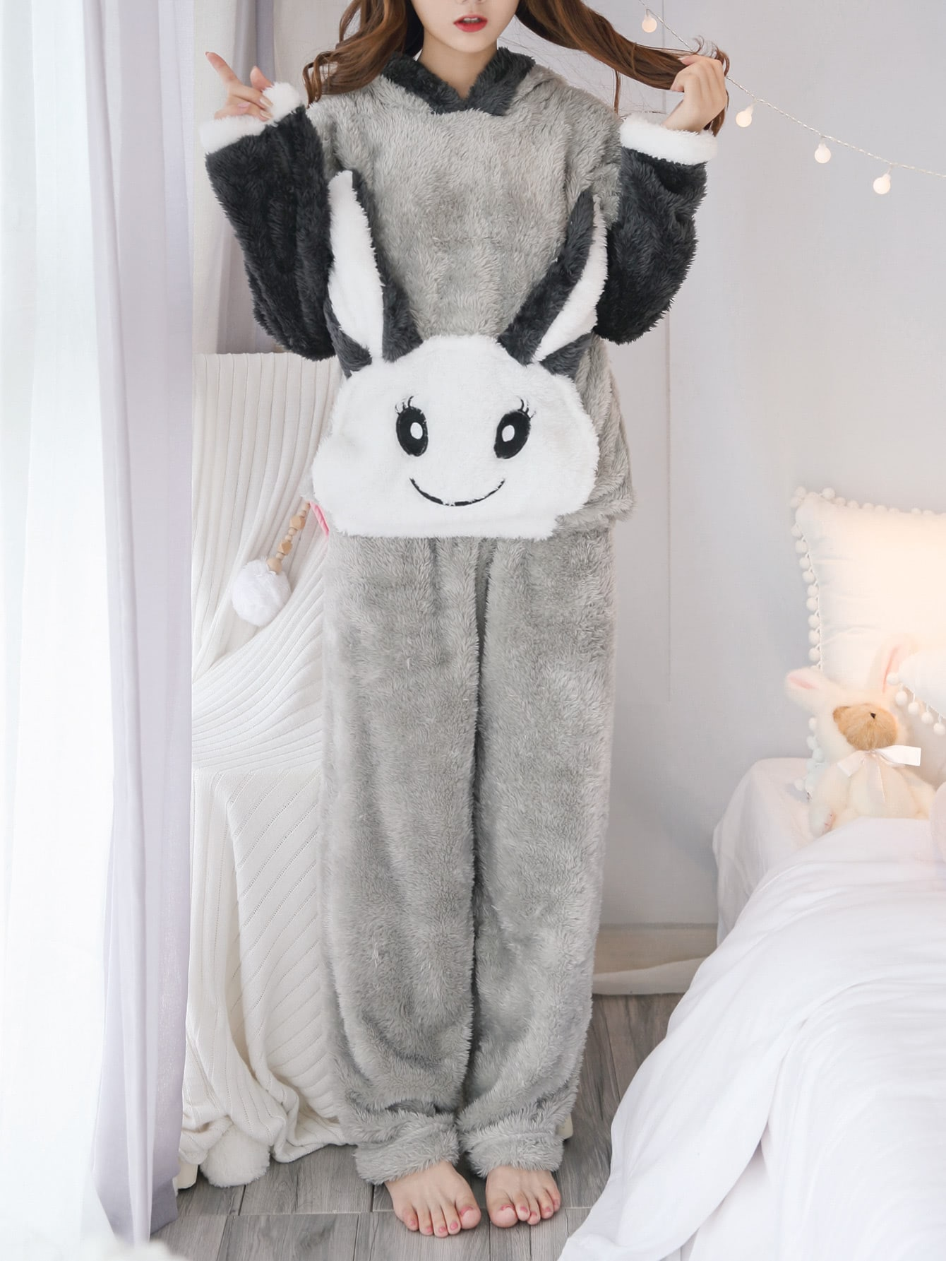 Rabbit Hooded Pajama Set