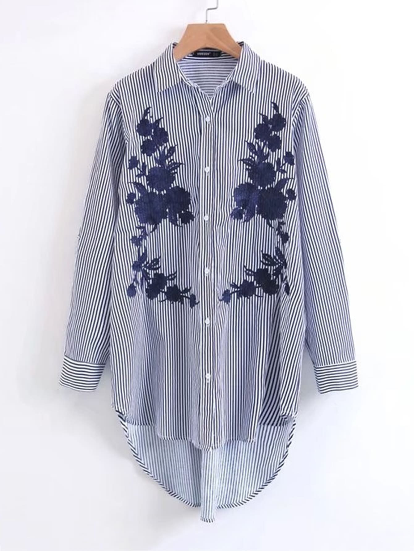 Embroidered Dolphin Hem Striped Shirt Dress back pleat embroidered striped shirt