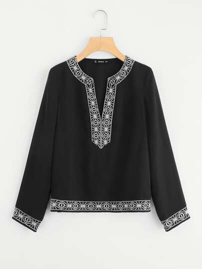Embroidery Tape Trim Tunic Blouse