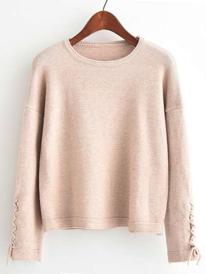 Lace Up Sleeve Pullover Sweater