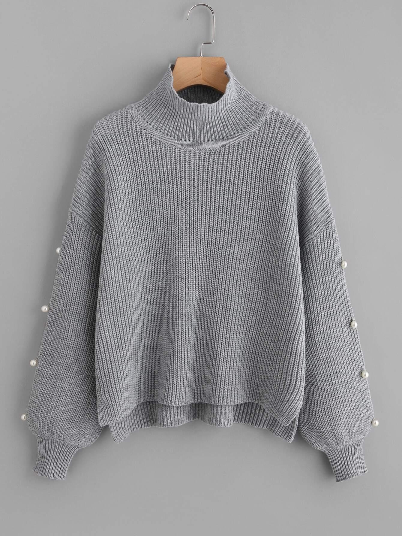 Pearl Embellished Sleeve Stepped Hem Jumper cable knit raw cut stepped hem jumper