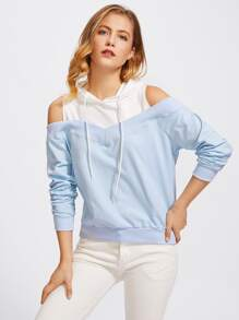 Open Shoulder Two Tone Hoodie