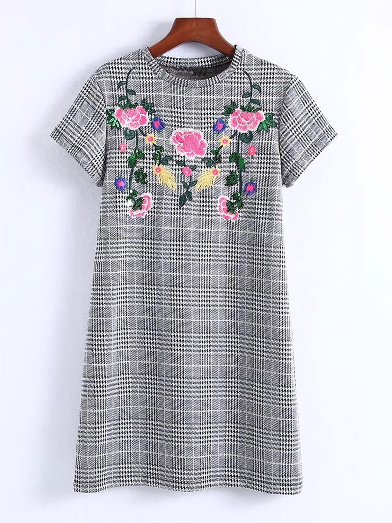 Flower Embroidery Plaid Dress zip back fit and flared plaid dress