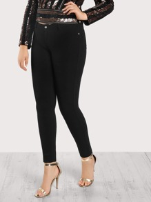 Mid Rise Fitted Jegging Pants BLACK