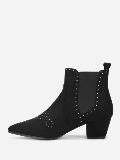 Rhinestone Detail Chelsea Boots