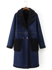 Seam Detail Coat With Contrast Sherpa Lined & Pocket