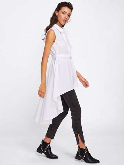 Dip Hem Self Tie Waist Sleeve Shirt