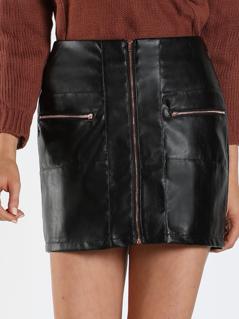 Zip Up Front Pocket Faux Leather Skirt BLACK