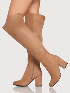 Thigh High Plain Faux Suede Boots CAMEL