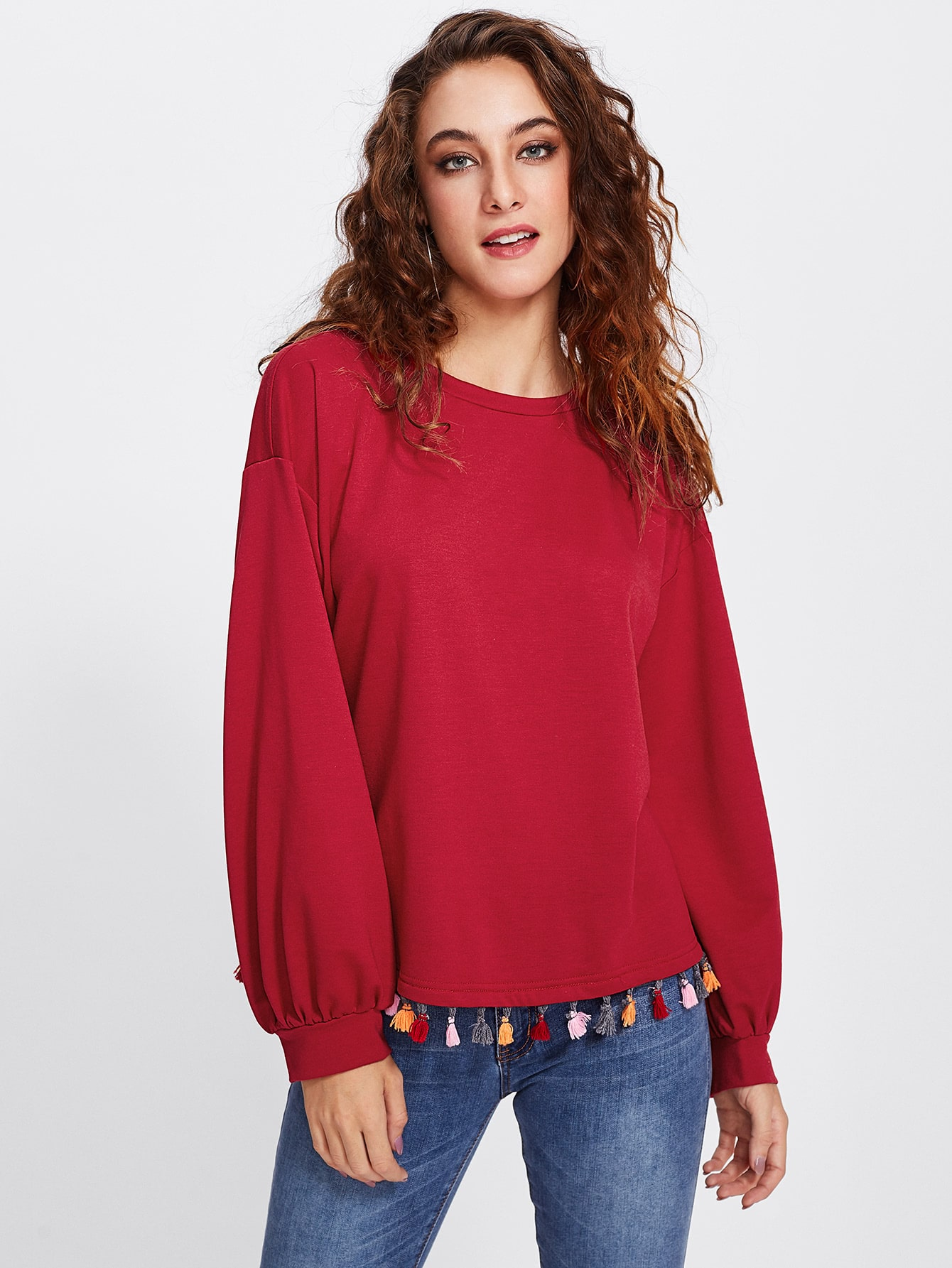 Colorful Tassel Trim Dip Hem Heathered Pullover lisa corti сандалии