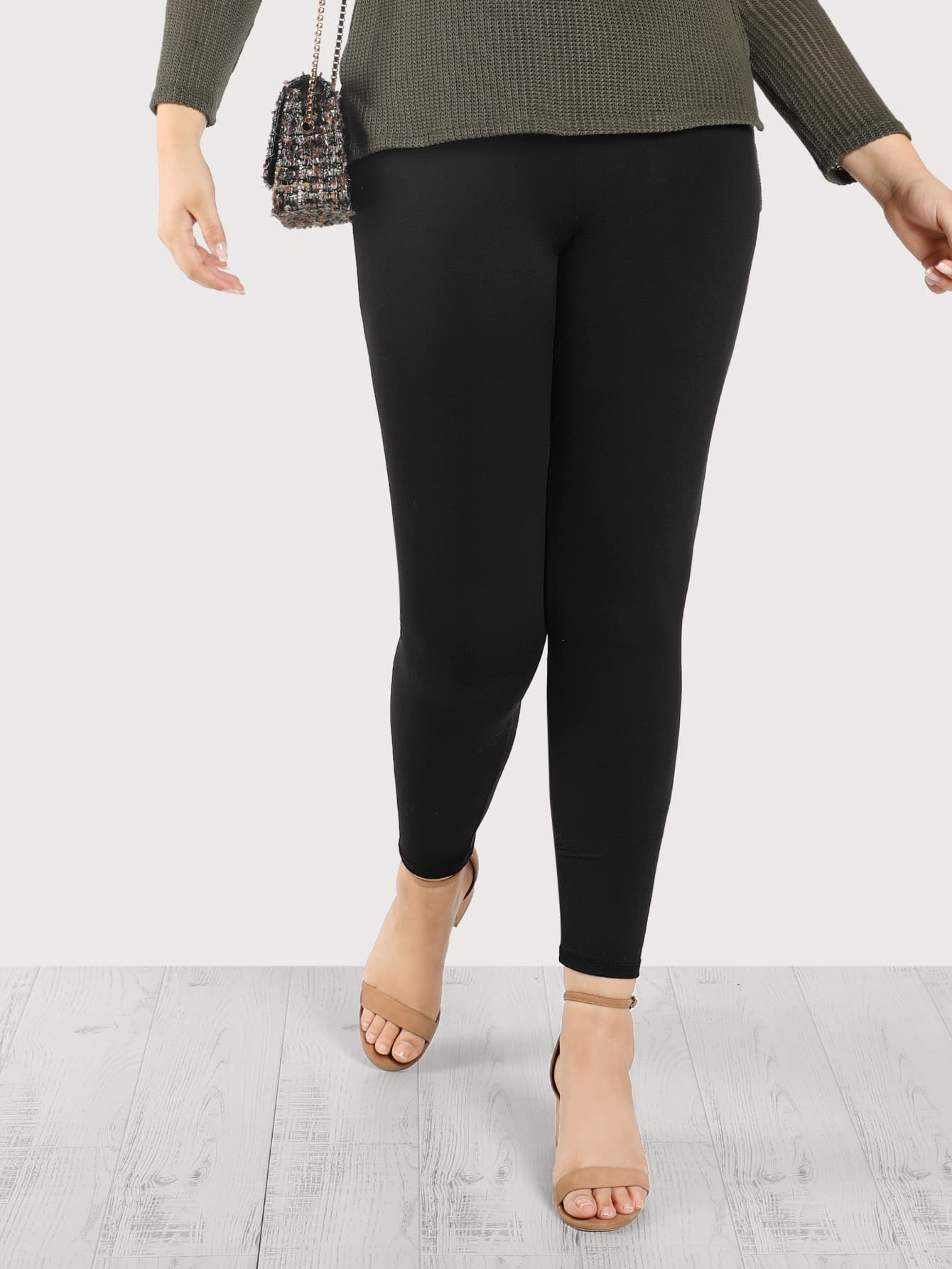 Image of High Rise Solid Leggings