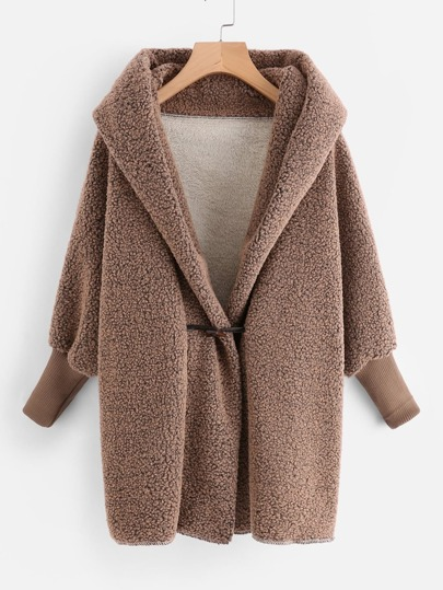 Horns Button Hooded Sherpa Coat