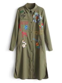 Flower Embroidered Slit Side Coat