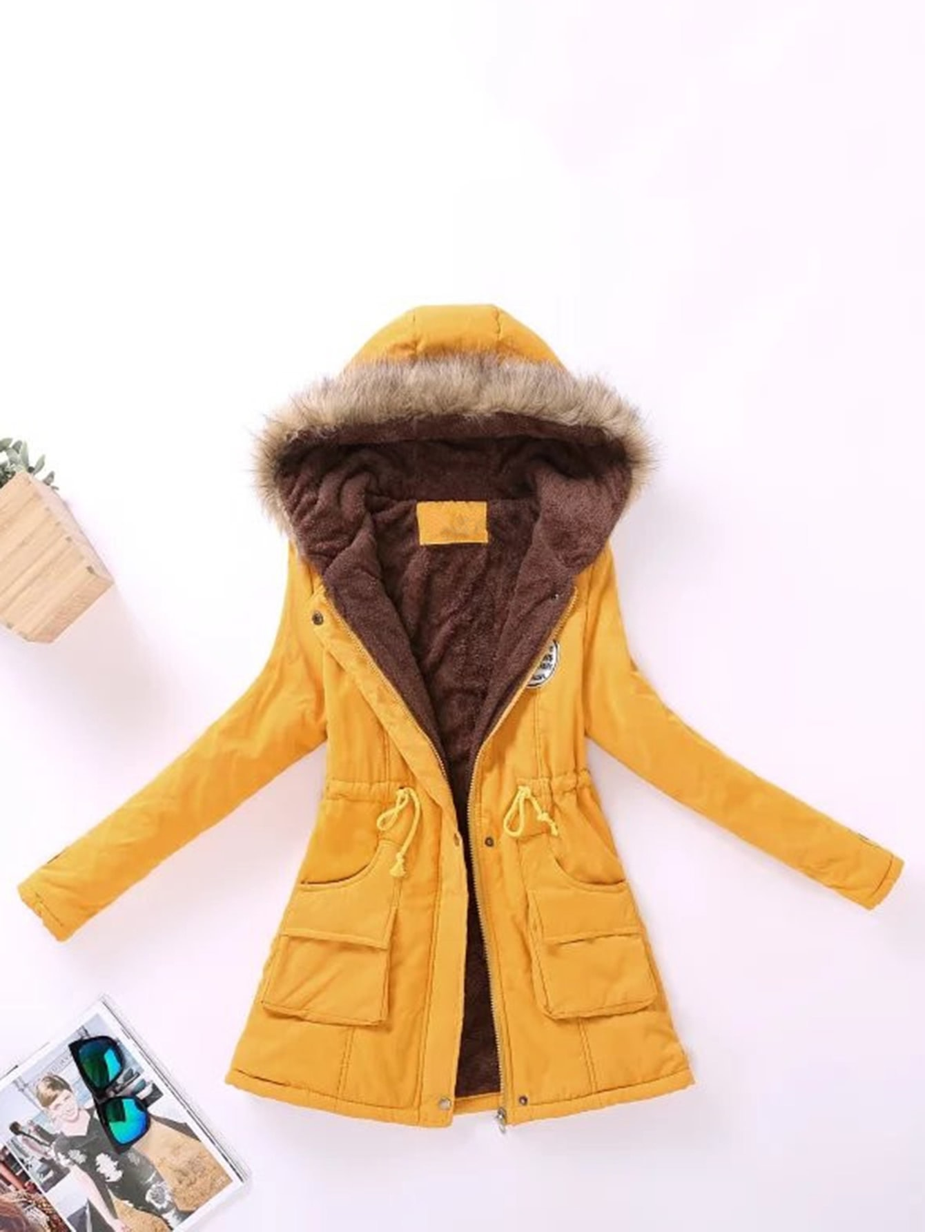Contrast Lined Faux Fur Hood Parka Coat zipper up faux fur hood padded coat