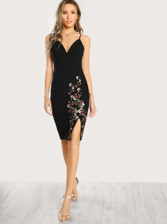 Floral Embroidered Sleeveless Dress BLACK