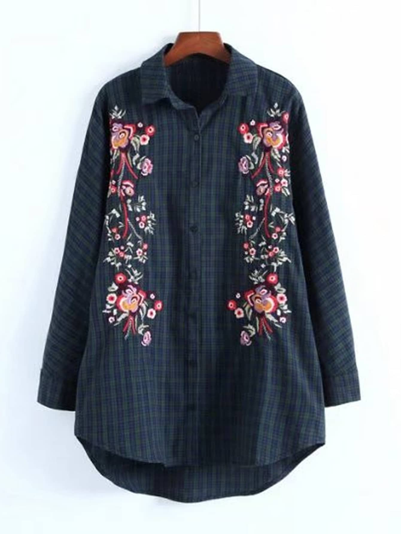Embroidery Flower Dolphin Hem Blouse ruched sleeve dolphin hem floral blouse