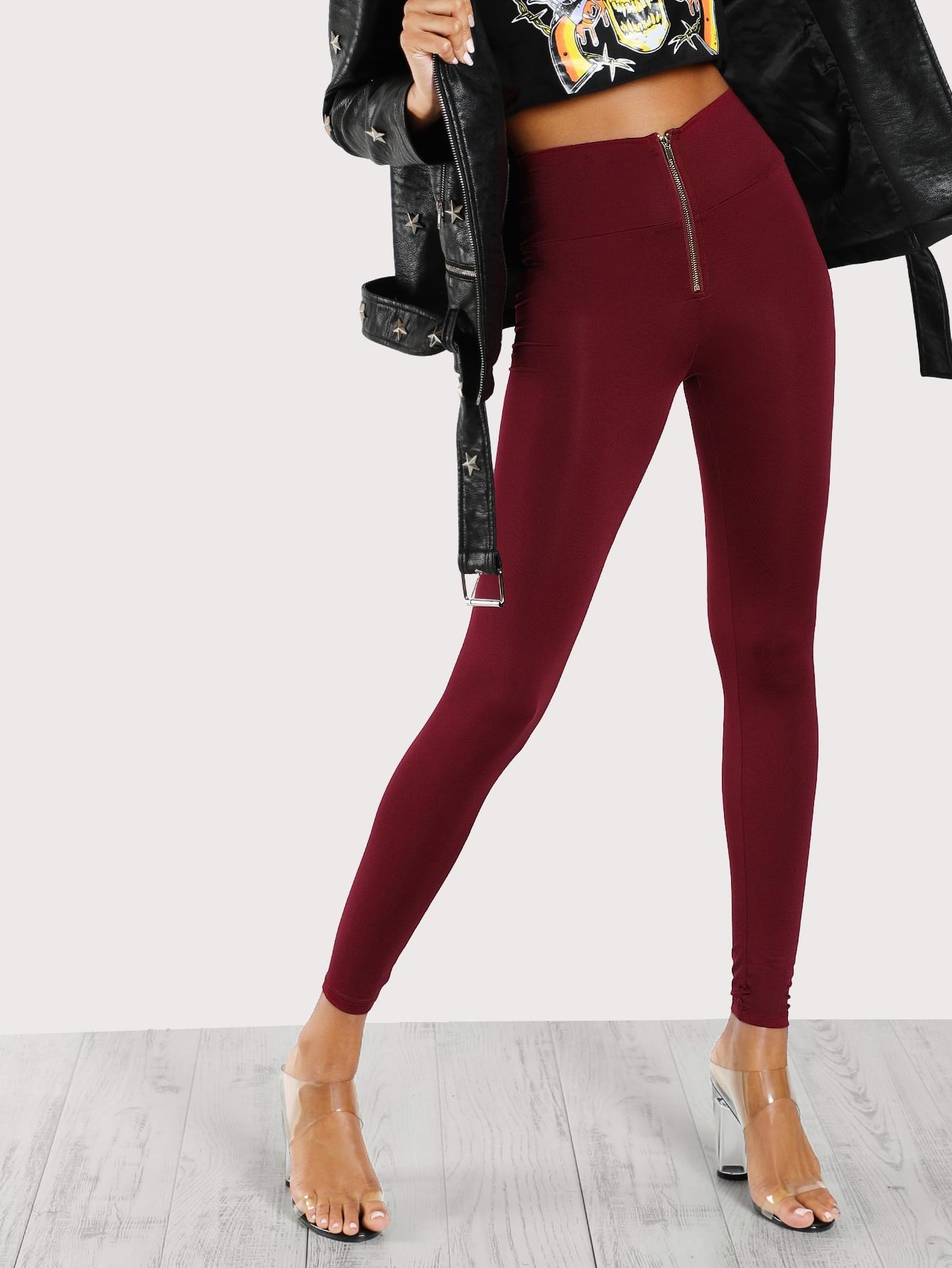High Waisted Zip Front Leggings