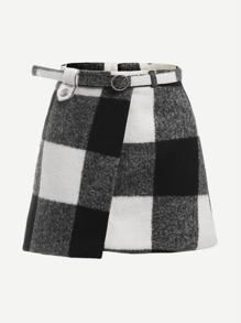 Check Plaid Asymmetrical Front Layer Skirt
