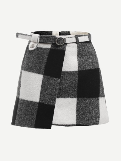 Check Plaid Asymmetrical Front Layer Skirt