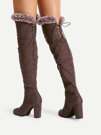 Faux Fur Trim Lace Up Suede Boots