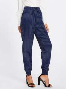 Shirred Waist And Hem Pinstripe Peg Pants