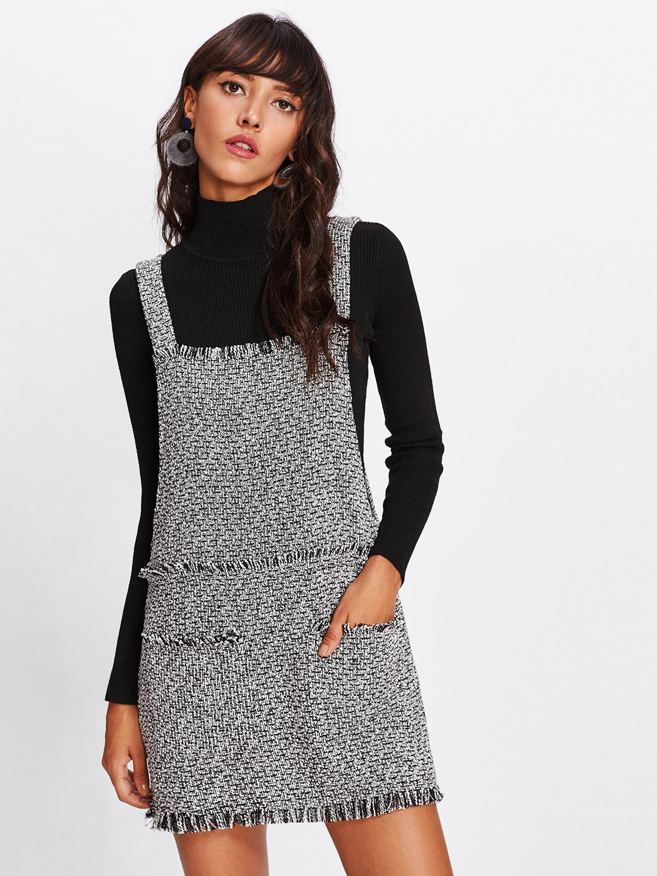 Fringe Detail Tweed Overall Dress lace trim fringe detail tweed top