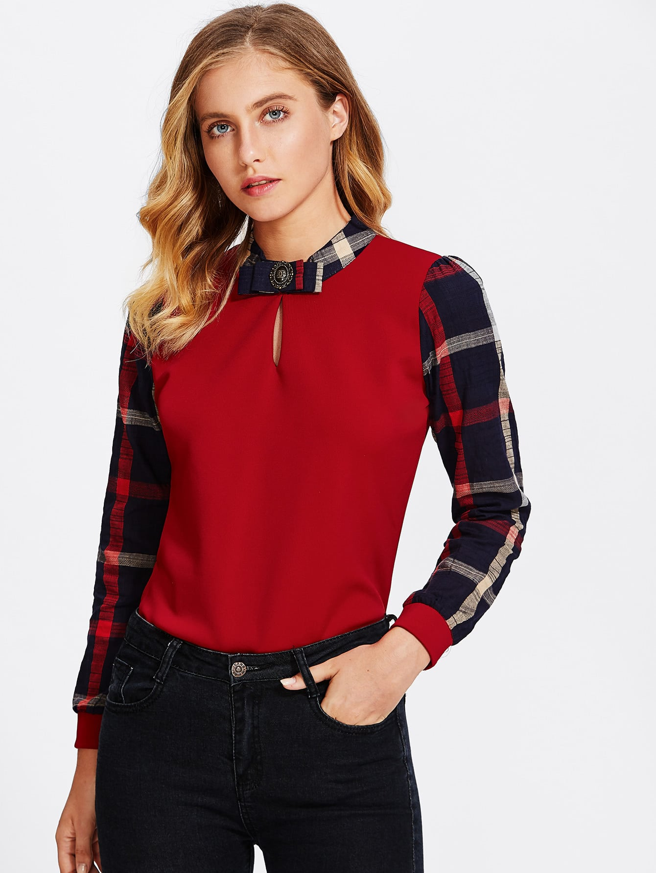 Tattersall Plaid Contrast Blouse contrast plaid tee