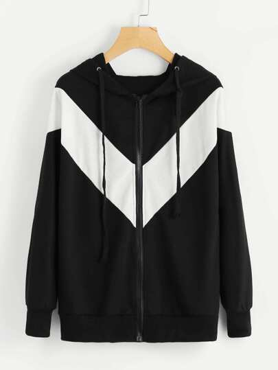 Chevron Hooded Zip Up Jacket