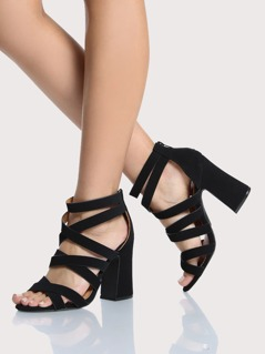 Strappy Chunky Heels BLACK