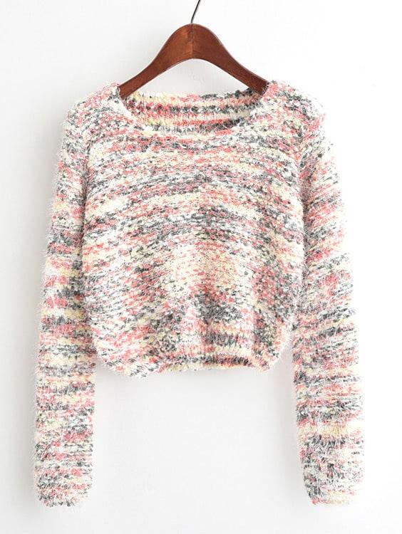 Round Neck Crop Knit Sweater