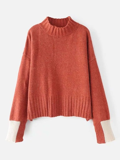 Two Tone Cuff Drop Shoulder Sweater