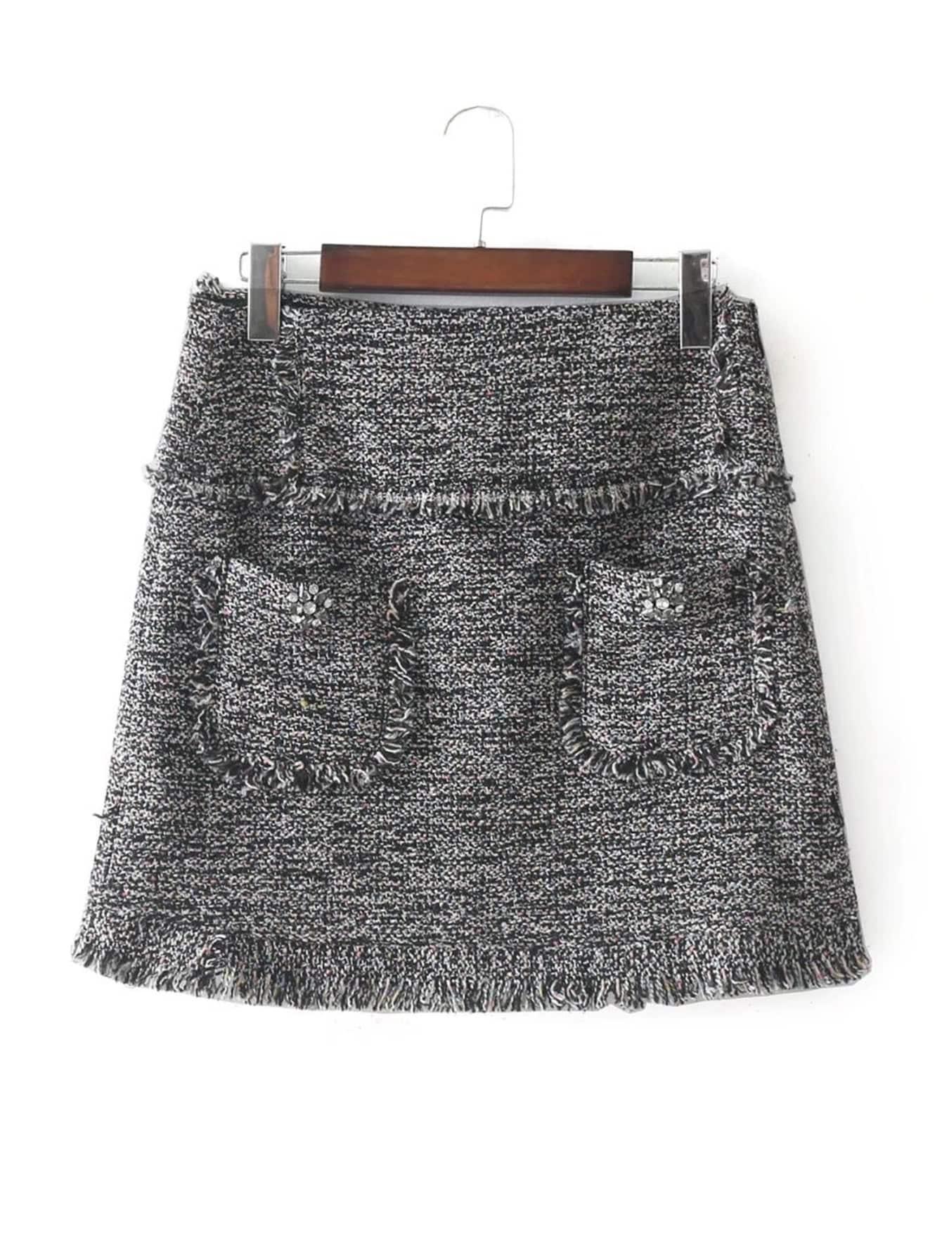 Rhinestone Detail Frayed Edge Tweed Skirt rhinestone detail frayed edge tweed skirt
